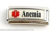 Anemia Blood Disorder Caduceus Medical Alert 9mm Italian Charm Superlink