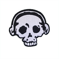 Skull & Headphones Patch —Iron On Badge Embroidered Motif — Headphone Music Punk