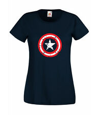 CAPTAIN INSPIRED COMIC BOOK AMERICA SUPERHERO NAVY LADIES PRINTED T-SHIRT