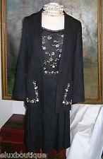 LUCA LUCA Skirt SUIT 3pc Black Cashmere Silk Ensemble Camisole Jacket Outfit NEW