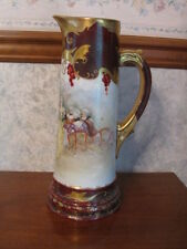 Antique Limoges T&V Hand Painted  Tankard Pitcher Courting Scene 14""