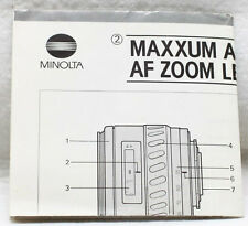 Minolta Maxxum AF Zoom Lenses Instructions Guide Product Chart