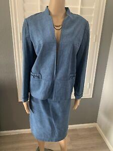 Vintage Blue Suede Skirt Suit Size 10 Designed Edges Pockets