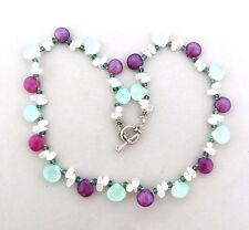 """Prenite Purple Agate Pearl Toggle Necklace Choker sterling silver 10mm 16.5"""""""