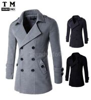 Men Trench Coat Slim Double Breasted Fit Jacket Wool Stylish Winter Casual