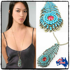 Pendant Long Chain Necklace Yx Vintage Fashion Women's Turquoise Peacock Feather