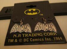 Vintage Licensed DC Comics Batman Logo Dangling Sterling Silver Earrings MOC #2