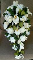 Cascading White/cream Calla Lily Roses Wedding Bouquet Bridal Silk Flowers 2pc