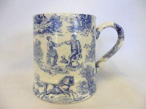 Blue toile tankard mug by Heron Cross Pottery