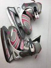 Bladerunner Dazzle Ice Skates Gray Fuchsia White Girl's Adjustable Size 4-7