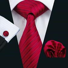 RED, & BLACK STRIPE SILK TIE, HANKY, CUFFLINKS - ITALIAN DESIGNER