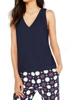 Trina Turk Womens Tank Top Navy Blue Size XS Back-Cutout Crepe V-Neck $158 561