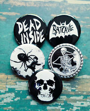 """Goth buttons, Lot of 5-1.25"""" Goth Skull button, Creepy Skeleton pin Badge"""