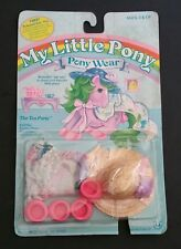 "1984 Hasbro MY LITTLE PONY WEAR ""The Tea Party"" Party Shoes, Flower Hat, Shawl"