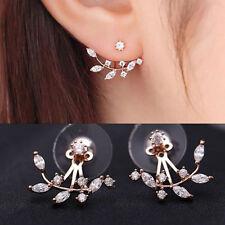 Womens Lady Crystal Leaf Ear Jacket Earrings Gold Plated Back Cuff Stud Earring