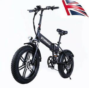 Folding Electric Mountain Bike, 20 Inch 48V E-bike Fat Tyre 4.0 Tire ,UK stock