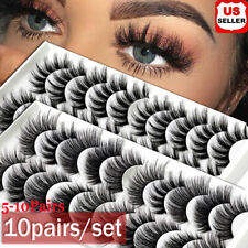 SKONHED 5/10 Pairs 3D Mink False Eyelashes Wispy Cross Fluffy Extension Lashes