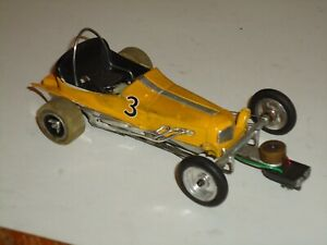 1/24 INLINE VINTAGE SLOT CAR BRASS CHASSIS WITH CHAMPION 26D MOTOR RUNS