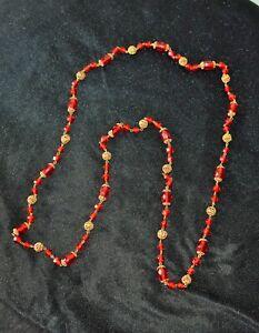 Vintage Art Deco Ruby Glass flapper style necklace