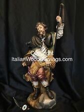 """St Saint Isidore Hand Carved Painted Statue 22"""" Italy"""