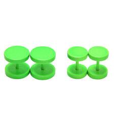 1pair 2pcs Unisex Men Barbell Punk Gothic Stainless Steel Ear Studs Earrings HT Green 8