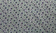 100 % Cotton fabric  ~ White with light purple, dark purple flowers, green ~ BTY