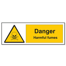 "Danger HARMFUL FUMES warning sign sticker decal 2"" x 6"""