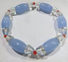 Bracelet sur élastique avec éléments olive bleu ciel et transparents