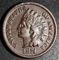 1874 INDIAN HEAD CENT With LIBERTY - VF VERY FINE