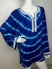 New INC International Concepts Women's 18W Goddess Blue Tie-Dyed Beaded Top NWT