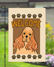 Cocker Spaniel Welcome Dog Garden Banner Flag 11x14 to 12x18 Pet Yard Breed