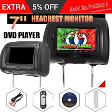 "2x  7"" Leather Black Car Headrest Monitors Built-in DVD Player/USB/HDMI/FM+Games"