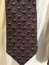 """VELENTINO, NECKTIE 100% SMOOTH SILK CHARCOAL GRAY/RED, 3.5"""" W/58""""L MADE ITALY"""