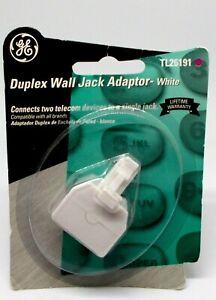 GE Duplex Wall Jack Adaptor WHITE TL26191 New In Package