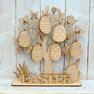 Wooden MDF Easter Tree with Decorations Easter Eggs Easter Display Freestanding