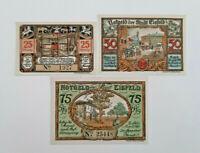 EISFELD NOTGELD 25, 50, 75 PFENNIG 1921 NOTGELDSCHEINE (11588)