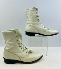 """Ladies Justin """"MADE IN USA"""" Pearl Leather Lace- Up Roper Ankle Boots Size: 8 B"""