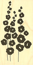 Hollyhocks Flowers Wood Mounted Rubber Stamp IMPRESSION OBSESSION H8722 New