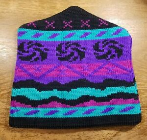 Vintage Wigwam Wool Knit Stocking Cap Ski Hat Beanie Purple Southwest Stripe USA