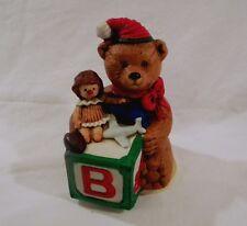 "Vintage '85 Revolving Ceramic Bear Music Box ""Jingle Bells"" W/ Santa Hat 7"" X 4"""