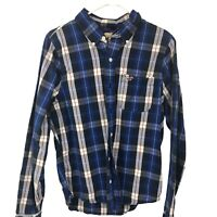 Hollister Adult Button Down Blue Plaid Shirt Long Sleeve L Large Mens