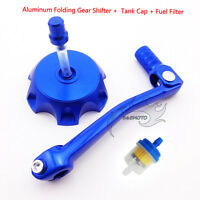 Blue Gear Shifter Lever Fuel Tank Cap Cover For 90 110 125 150 cc Pit Dirt Bike