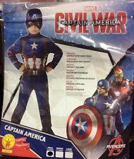 CARNEVALE MARVEL AVENGERS CAPITAN AMERICA COSTUME + MASCHERA ORIGINAL 3/4 ANNI