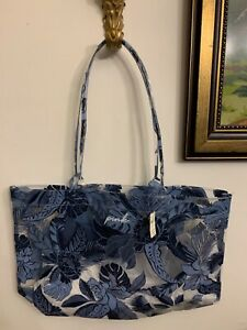 VICTORIA'SSECRET BLUE FLORAL PLASTIC BEACH POOL GYM BAG LARGE NEW WITH TAGS