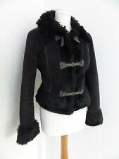 Armani Jeans black faux fur buckle front fitted biker jacket UK 12 VGC