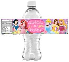 20 Disney Princess Water Bottle Sticker Labels, PARTY FAVORS - Ariel, Cinderella