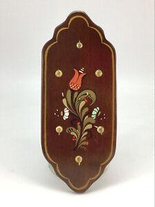 Vtg Hand Painted Wooden Key Holder Wall Hanger Home Décor Toleware Folk Art