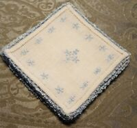 "VINTAGE ♡ SET OF 8 OFF WHITE LINEN BLUE EMBROIDERED TATTING DOILIES 5.5"" SQUARE"