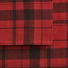 Cuddl Duds Flannel Queen Sheet Set RED Plaid Harley Heavyweight Brushed Cotton