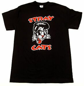 STRAY CATS T-shirt Rockabilly Cool Cat Tattoo Adult  Men Tee Brian Setzer